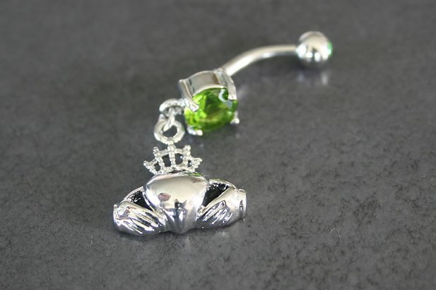 Image of Irish Claddagh Design Solitaire Gem Belly Ring body piercing jewellery NZ