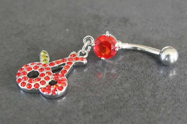 Image of Gem Cherries Dangle Belly Ring body piercing jewellery NZ