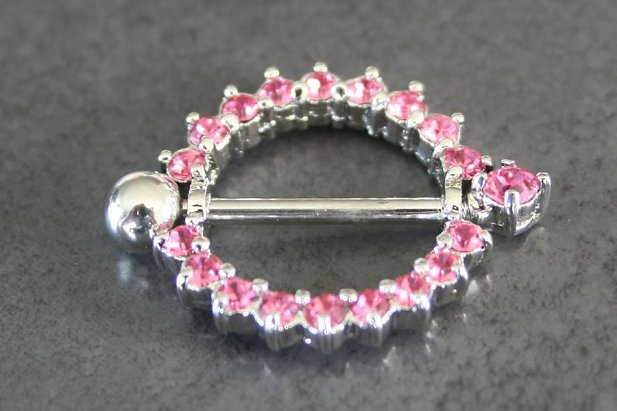 Image of Pink Cubic Zirconia Circle Nipple Shield body piercing jewellery NZ