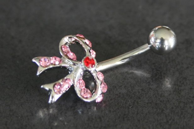 Image of Gem Bow Tie Navel Ring body piercing jewellery NZ