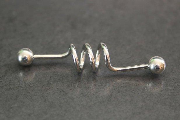 Image of Corkscrew Industrial Barbell body piercing jewellery NZ
