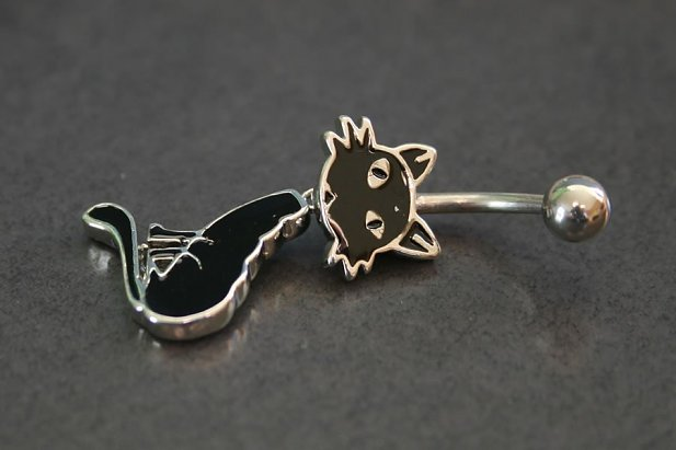 Image of Moving Kitty Belly Ring body piercing jewellery NZ