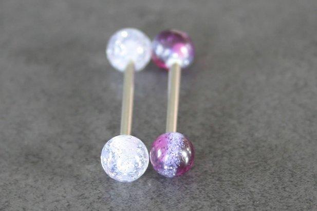 Image of Two Tone Glitter Barbell body piercing jewellery NZ