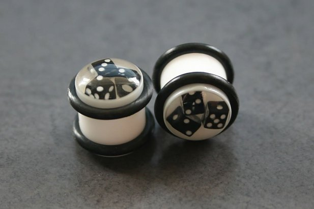 Image of White Plugs with Black Dice body piercing jewellery NZ