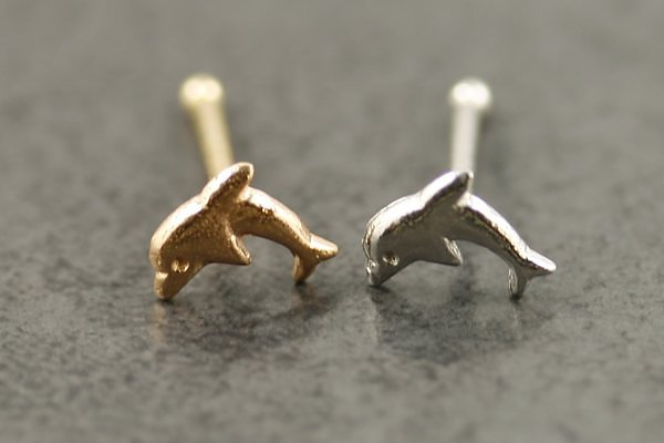 14k Gold Dolphin Nose Bone