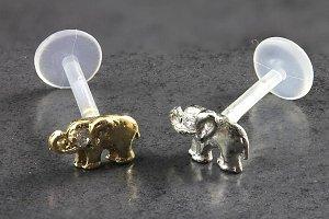 14kt Gold Elephant with CZ Gem