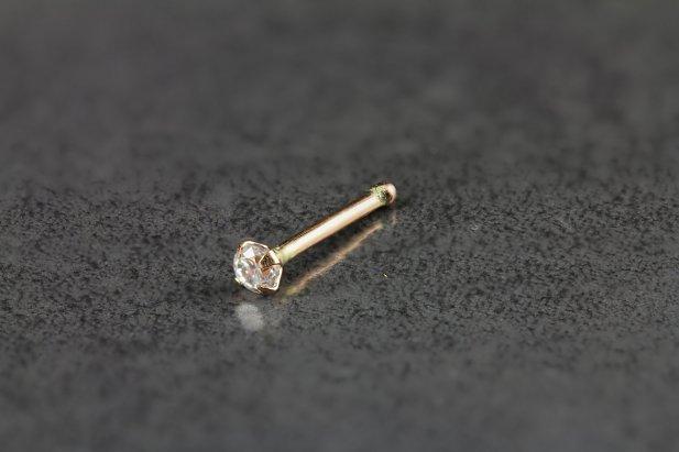14kt Rose Gold 1.5mm CZ Gem Nose Bone