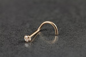 14kt Rose Gold 2mm CZ Nose Screw