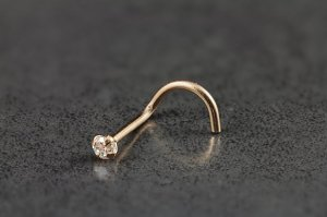 14kt Rose Gold and CZ Nose Screw