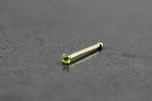 14kt Yellow Gold 1.5mm Peridot Nose Bone