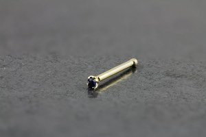 14kt Yellow Gold 1.5mm Sapphire Nose Bone