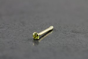 14kt Yellow Gold 2mm Peridot Nose Bone