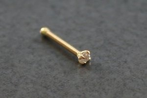 14kt Yellow Gold and Diamond Nose Bone