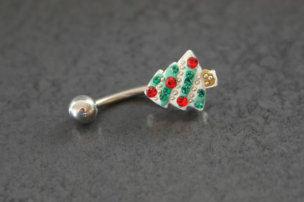 Image of Christmas Tree Belly Ring body piercing jewellery NZ