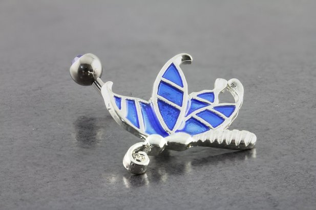Image of Stained Glass Butterfly Belly Ring body piercing jewellery NZ