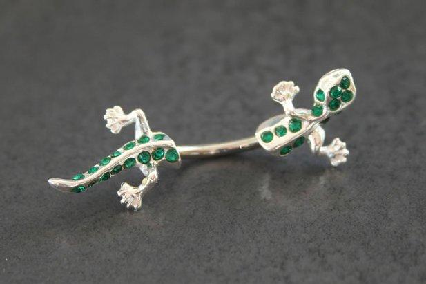 Image of Jeweled Split Gecko Belly Ring body piercing jewellery NZ