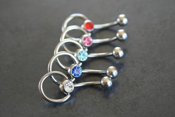 Image of Jeweled Slave Knocker Belly Ring body piercing jewellery NZ