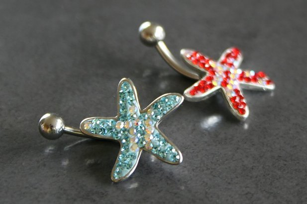 Image of Crystal Starfish Belly Ring body piercing jewellery NZ