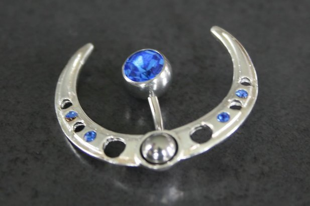 Image of CZ & Sterling Silver Navel Shield body piercing jewellery NZ