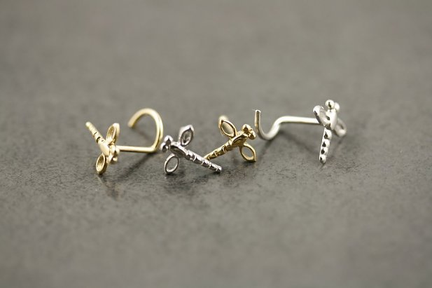 Image of Gold Dragonfly Nose Screw body piercing jewellery NZ