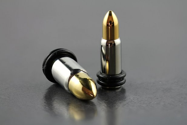 Image of Gold Tip Bullet Style Plugs body piercing jewellery NZ