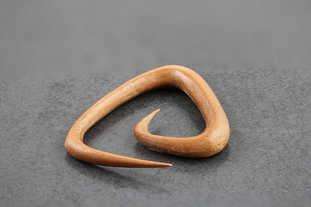 Image of Exotic Saba Wood Triangle Spiral Taper Plugs body piercing jewellery NZ