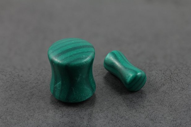Image of Green Malachite Double Flared Plugs body piercing jewellery NZ