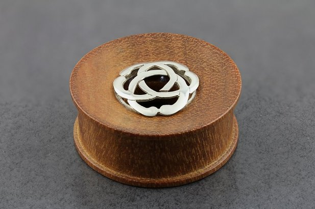Image of Wood Plug Tunnel with Sterling Silver Symbol body piercing jewellery NZ
