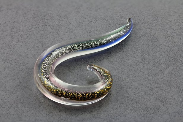 Image of Pyrex Glass Dichroic Glitter Drop body piercing jewellery NZ