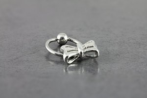 Captive Bead Ring with Cute Bow Design