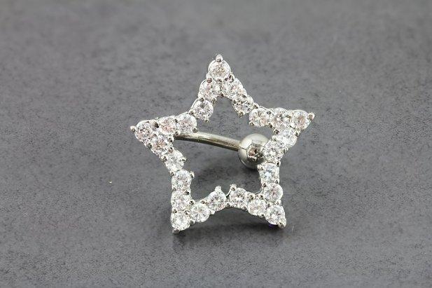 Image of Reverse CZ Superstar Navel Ring body piercing jewellery NZ