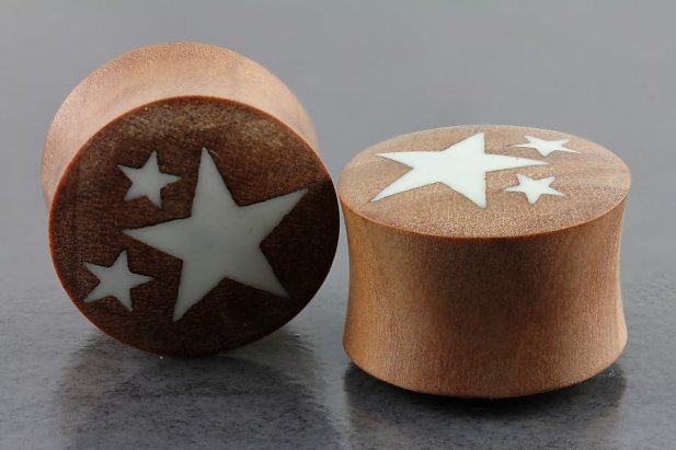 Image of Saba Wood and Bone Star Organic Plugs body piercing jewellery NZ