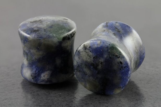 Image of Denim Sodalite Stone Flared Plugs body piercing jewellery NZ