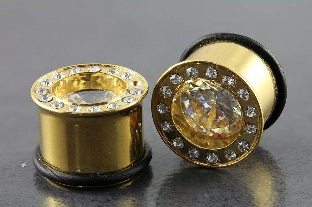Image of Bling Gold Tone Single Flare Plugs body piercing jewellery NZ