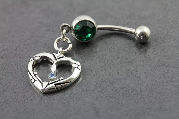 Image of Celtic Charm Gem Belly Bar body piercing jewellery NZ