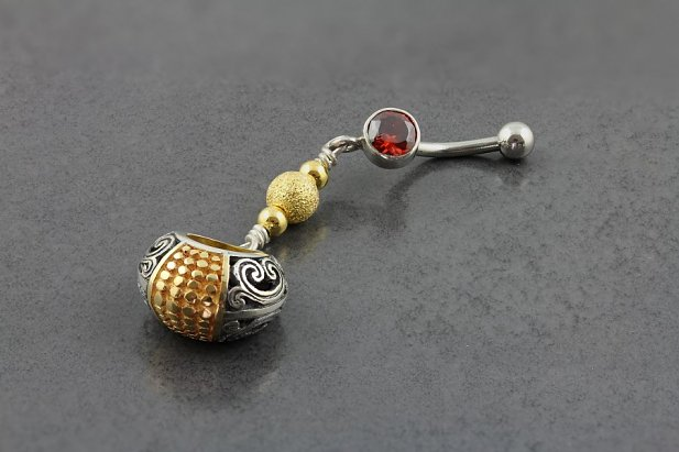 Image of Gold and Silver Bali Belly Dangle body piercing jewellery NZ
