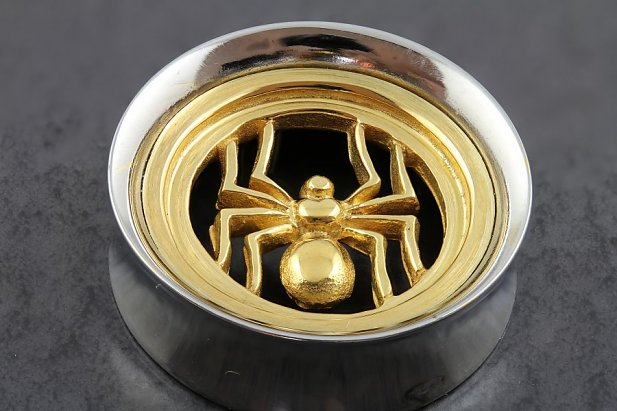 Image of Gold Plated Spider Plugs body piercing jewellery NZ