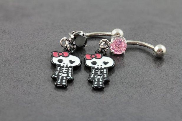 Image of Girly Skeleton Belly Bar body piercing jewellery NZ