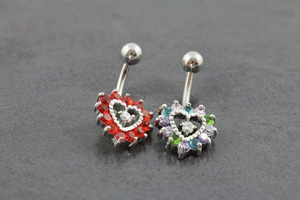 Image of Jewelled Heart Belly Bar body piercing jewellery NZ