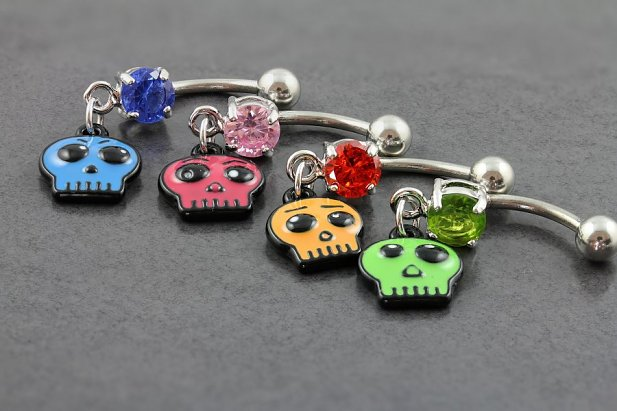 Image of Ghoulish Ghost Belly Bar body piercing jewellery NZ