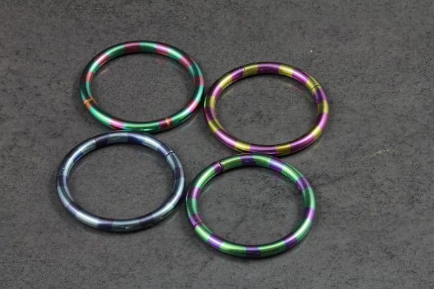 Image of 14g Candy Stripe Segment Rings body piercing jewellery NZ