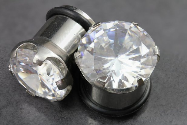 Image of Cubic Zirconia Steel Plugs body piercing jewellery NZ