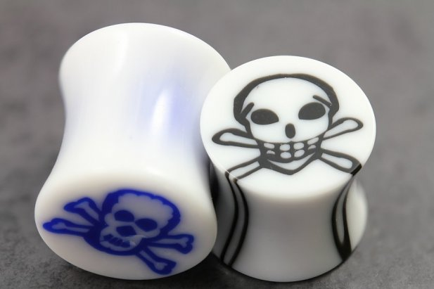 Image of Acrylic Skull Inlay Flared Plugs body piercing jewellery NZ