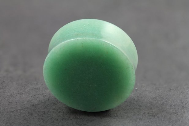 Image of Green Aventurine Stone Flared Plugs body piercing jewellery NZ