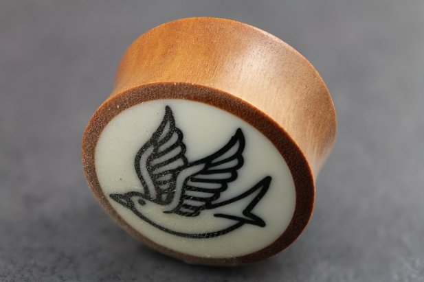 Image of Sawo Wood with Swallow Bone Inlay Plug body piercing jewellery NZ