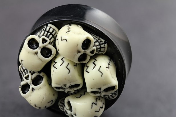 Image of 3D Skull Design Flared Plugs body piercing jewellery NZ