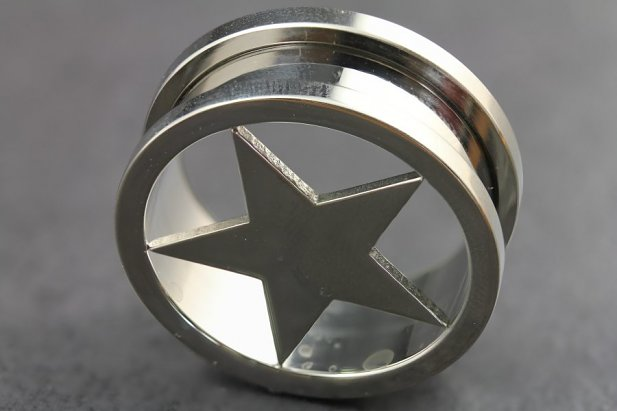 Image of Silver Star Threaded Tunnel body piercing jewellery NZ