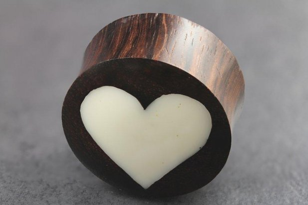 Image of Sono Wood and Bone Heart Inlay Plugs body piercing jewellery NZ