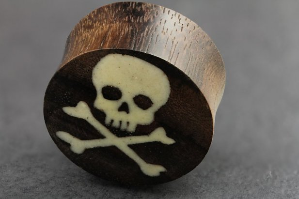 Image of Skull Crossbone Sono Wood and Bone Plugs body piercing jewellery NZ