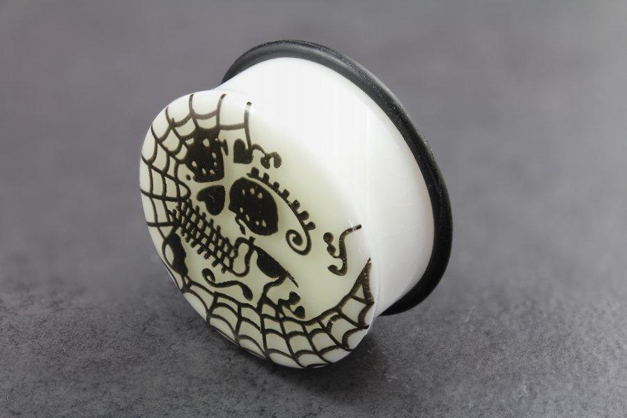 Image of Acrylic Glow in the Dark Skull Web Flared Plugs